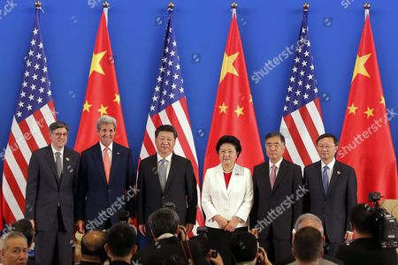 (l-r) Us Treasury Secretary Jack Lew Us Secretary of State John Kerry Chinese President Xi Jinping Chinese Vice Premier Liu Yandong Chinese Vice Premier Wang Yang and Chinese State Councilor Yang Jiechi Pose For a Photo During the Joint Opening Ceremony of the Eighth Round of the Us-china Strategic and Economic Dialogue and Us-china Consultation on People-to-people Exchange at Diaoyutai State Guesthouse in Beijing China 06 June 2016 the 8th Us-china Strategic and Economic Dialogue and the 7th Round of Us-china High-level Consultation on People-to-people Exchange Are Held in Beijing on 06 and 07 June 2016 China Beijing