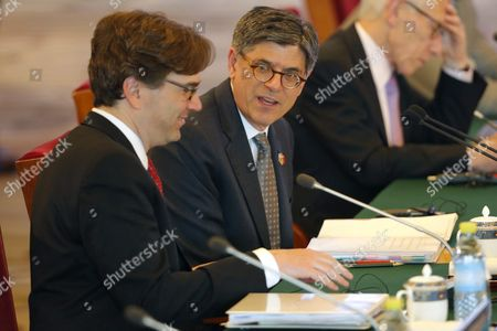Us Treasury Secretary Jack Lew (c) Talks with Jason Furman (l) Chairperson of the Council of Economic Advisers During the Economic Dialogues of the Eighth Round of the Us-china Strategic and Economic Dialogues at Diaoyutai State Guesthouse in Beijing China 06 June 2016 the 8th Us-china Strategic and Economic Dialogue and the 7th Round of Us-china High-level Consultation on People-to-people Exchange Are Held in Beijing on 06 and 07 June 2016 China Beijing