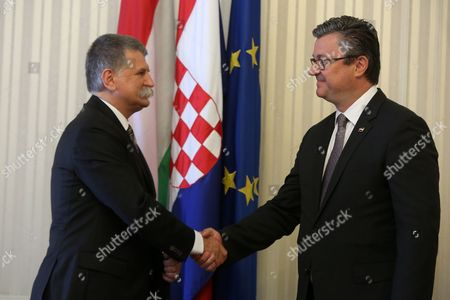 Prime Minister of Croatia Tihomir Oreskovic (r) Shakes Hands with Hungarian Parliament Speaker Laszlo Kover During Their Meeting at the Parliament Building in Zagreb Croatia 02 June 2016 Croatia Zagreb