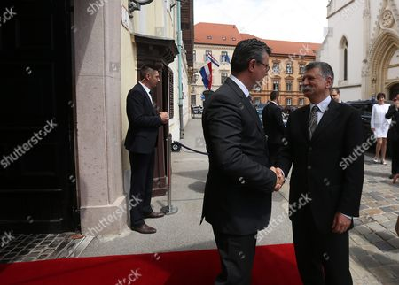 Prime Minister of Croatia Tihomir Oreskovic (l) Shakes Hands with Hungarian Parliament Speaker Laszlo Kover During Their Meeting at the Parliament Building in Zagreb Croatia 02 June 2016 Croatia Zagreb