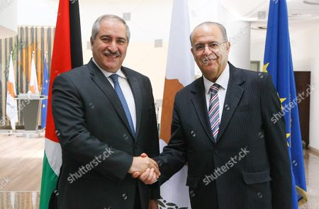 Stock Picture of Cypriot Minister of Foreign Affairs Ioannis Kasoulides (r) Shakes Hands with Deputy Prime Minister and Minister of Foreign Affairs of the Hashemite Kingdom of Jordan Nasser Judeh (l) at the Ministry of Foreign Affairs in Nicosia Cyprus 29 July 2016 Cyprus Nicosia