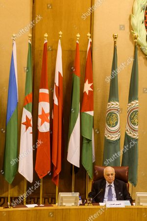 The Current Secretary General of the Arab League Nabil Elaraby Heads the Arab Foreign Ministers Meeting Arab League Headquarters in Cairo Egypt 10 March 2016 the Arab Foreign Ministers Assembled For an Urgent Meeting to Discuss the Current Situation in the Arab World and Postponed the Election of the New Arab League Secretary General As the Seat Will Be Empty by June 2016 Egypt Cairo