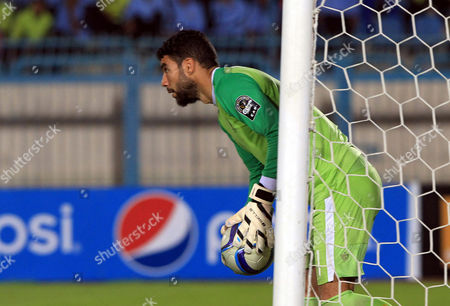 Stock Photo of Al-ahly Goalkeeper Sherif Ekramy Reacts During the Caf Confederation Cup Semi Final Second Leg Soccer Match South African Team Orlando Pirates and Egyptian Team Al Ahly in Suez Egypt 04 October 2015 Egypt Cairo