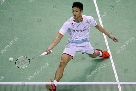 Chou Tien Chen of Tapei Returns the Shuttlecock to Lee Chong Wei of Malaysia During the Men's Single Final of the Yonex Internationaux France Badminton at the Stade De Coubertin in Paris France 25 October 2015 France Paris