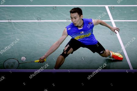 Lee Chong Wei of Malaysia Returns the Shuttlecock to Chou Tien Chen of Tapei During the Men's Single Final of the Yonex Internationaux France Badminton at the Stade De Coubertin in Paris France 25 October 2015 France Paris