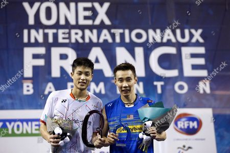 Lee Chong Wei (r) of Malaysia Poses with Chou Tien Chen (l) of Tapei After Winning the Men's Single Final of the Yonex Internationaux France Badminton at the Stade De Coubertin in Paris France 25 October 2015 France Paris