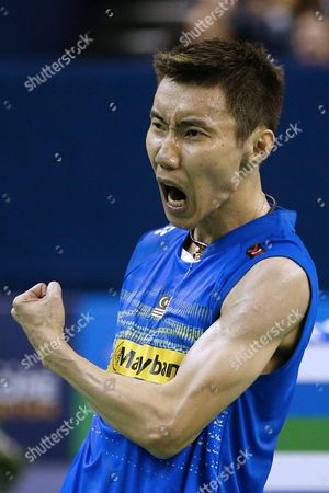 Lee Chong Wei of Malaysia Celebrates As He Wins the Men's Single Final Against Chou Tien Chen of Tapei During the Yonex Internationaux France Badminton at the Stade De Coubertin in Paris France 25 October 2015 France Paris