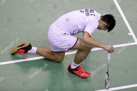Chou Tien Chen of Tapei Reacts After Loosing a Point Against Lee Chong Wei of Malaysia During the Men's Single Final of the Yonex Internationaux France Badminton at the Stade De Coubertin in Paris France 25 October 2015 France Paris