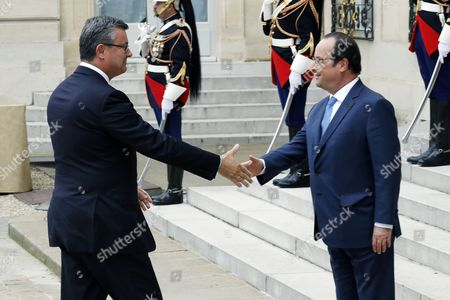 Croatian Prime Minister Tihomir Oreskovic (l) is Welcomed by French President Francois Hollande (r) Upon Hisarrival at the Elysee Palace For the Western Balkans Summit Hosted by France in Paris France 04 July 2016 France Paris