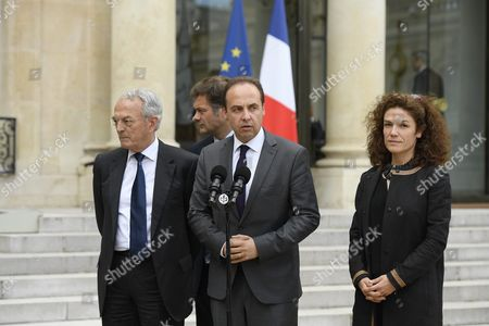 Jean-christophe Lagarde (l-r) Jean Arthuis Arnaud Richard and Chantal Jouanno of French Party Udi Speak at the Elysee Palace in Paris France 25 June 2016 Britons in a Referendum on 23 June Have Voted by a Narrow Margin to Leave the European Union (eu) France Paris