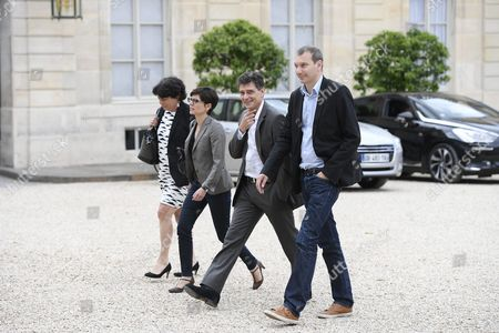 Sandrine Rousseau (l-r) Michele Rivasi David Cormand and Pascal Durand of the French Party Europe Ecology the Greens Arrive at the Elysee Palace in Paris France 25 June 2016 Britons in a Referendum on 23 June Have Voted by a Narrow Margin to Leave the European Union (eu) France Paris