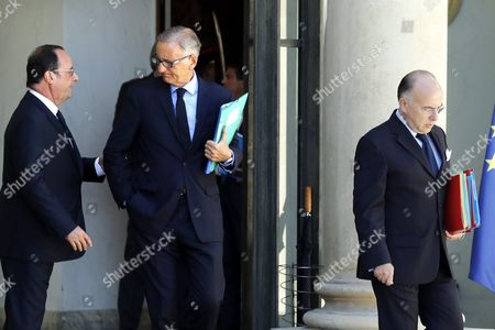 French President Francois Hollande (l) Escorts French Interior Minister Bernard Cazeneuve (r) and French Junior Minister For Francophony Andre Vallini (c) Outside the Elysee Palace After the First Weekly Cabinet Meeting Following the Summer Holidays in Paris France 22 August 2016 France Paris