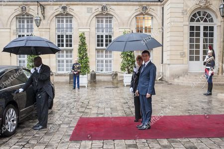 French Prime Minister Manuel Valls (r) Awaits the Arrival of Croatian Prime Minister Tihomir Oreskovic (not in Picture) Prior Their Meeting at the Matignon Palace in Paris France 30 May 2016 France Paris