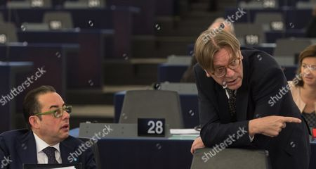 Gianni Pitella (l) From the Group of the Progressive Alliance of Socialists and Democrats in the European Parliament and Guy Verhofstadt (r) Leader of the Alde Liberal Group at the European Parliament Chat Prior to the Debate About the Agreement to Return Migrants and Asylum Seekers From Greek Islands to Turkey in the European Parliament in Strasbourg France 13 April 2016 France Strasbourg