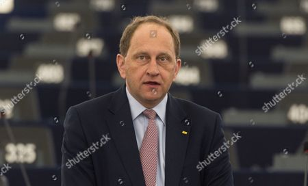 Vice-president Alexander Graf Lambsdorff From Germany of the Group of the Alliance of Liberals and Democrats For Europe Awaits the Debate About the Agreement to Return Migrants and Asylum Seekers From Greek Islands to Turkey in the European Parliament in Strasbourg France 13 April 2016 France Strasbourg