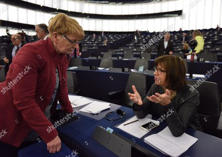 President of Gue/ngl Political Group of European Parliament Gabi Zimmer (l) Speaks with German Rebecca Harms (r) Member of the European Parliament For Alliance 90/the Greens Before the Plenary Session at European Parliament in Strasbourg France 09 March 2016 Lawmakers in the European Parliament on 09 March 2016 Criticized Plans For a New Migration Deal with Turkey That Would See Ankara Take Back Migrants and Asylum Seekers in Exchange For the European Union Resettling Syrian Refugees out of the Country France Strasbourg