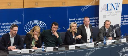 (l-r) Members of the European Parliament (meps) Marcus Pretzell of Germany Janice Atkinson of Britain Matteo Salvini of Italy Marine Le Pen of France Harald Vilimsky of Austria and Michal Marusik of Poland During a Press Conference on the Europe of Nations and Freedom Group About 'Sovereignty Challenged by Ttip and Ceta' in the European Parliament in Strasbourg France 11 May 2016 France Strasbourg
