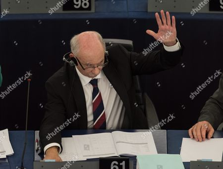 Member of Parliament Janusz Lewandowski From Poland Votes in a Non-binding Resolution After a Debate About the Recent Developments in Poland and Their Impact on Fundamental Rights in the European Parliament in Strasbourg France 14 September 2016 France Strasbourg