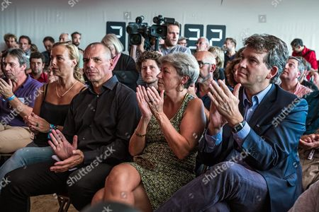 Greek Former Finance Minister Yanis Varoufakis (2-l) His Wife Danae Stratou (l) Former French Economy Minister and Candidate For the Left-wing Primary Ahead of the 2017 Presidential Election Arnaud Montebourg (r) Attend the Fete De L'humanite in La Courneuve North of Paris France 10 September 2016 the Fete De L'humanite (lit : Festival of Humanity) is an Annual Political Event Organised by the French Communist Newspaper L'humanite France La Courneuve