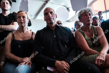 Stock Image of Former Greek Finance Minister Yanis Varoufakis (c) His Wife Danae Stratou (l) and Wife of French Communist Party Head Claude Laurent Attend the Fete De L'humanite in La Courneuve North of Paris France 10 September 2016 the Fete De L'humanite (lit : Festival of Humanity) is an Annual Political Event Organised by the French Communist Newspaper L'humanite France La Courneuve