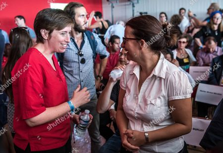Member of Parliament For the French Green Party Eelv and Candidate For the 2017 Presidential Election Cecile Duflot (r) and French Feminist and Former Socialist Party Member Caroline De Haas (l) Attend the Fete De L'humanite in La Courneuve North of Paris France 10 September 2016 the Fete De L'humanite (lit : Festival of Humanity) is an Annual Political Event Organised by the French Communist Newspaper L'humanite France La Courneuve