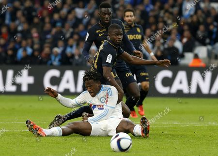 Michy Batshuayi of Olympique Marseille (l) Vies For the Ball with Uwa Echiejile Elderson of As Monaco (r) During a French Ligue 1 Soccer Match Olympique Marseille Vs As Monaco at the Velodrome Stadium in Marseille Southern France 29 November 2015 France Marseille