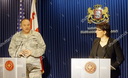 Philip Breedlove (l) Us Air Force General and Commander of the Us Forces in Europe Speaks During a Joint News Conference with Georgian Defense Minister Tinatin Khidasheli (r) in Tbilisi Georgia 23 March 2016 Philip Breedlove is on a Working Visit to Georgia Georgia Tbilisi
