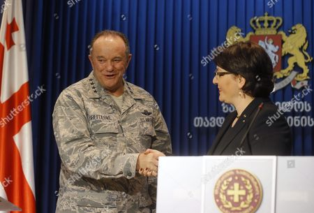 Philip Breedlove (l) Us Air Force General and Commander of the Us Forces in Europe Shakes Hands with Georgian Defense Minister Tinatin Khidasheli (r) in Tbilisi Georgia 23 March 2016 Philip Breedlove is on a Working Visit to Georgia Georgia Tbilisi