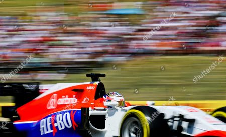 Spanish Formula One Driver Roberto Merhi of the Manor Marussia F1 Team in Action During the Formula One Grand Prix of Hungary at the Hungaroring Race Track in Mogyorod Near Budapest Hungary 26 July 2015 Hungary Mogyorod