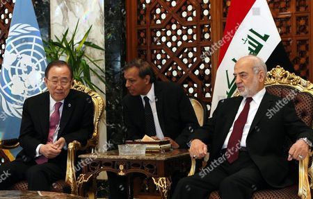United Nations Secretary-general Ban Ki-moon (l) Meets Iraqi Foreign Minister Ibrahim Al-jafari (r) at Baghdad International Airport Iraq 26 March 2016 Ban Arrived in Baghdad on an Official Visit For Talks with Senior Officials and Provide the Support on the Fight Against the Organization Calling Itself the Islamic State (is) and Also Discussed the Latest Political Crisis in the Country Iraq Baghdad