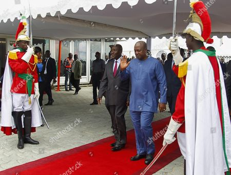 Ghana's President John Mahama Dramani (c-r) and Ivory Coast's Prime Minister Daniel Kablan Duncan (c-l) Walk During a Visit to the Autonomous Port of Abidjan Ivory Coast 02 June 2016 President Mahama is on a Two Day Official Visit Cote D'ivoire Abidjan