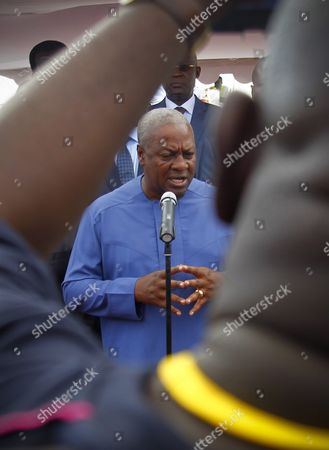 Ghana's President John Mahama Dramani Speaks During a Visit to the Autonomous Port of Abidjan Ivory Coast 02 June 2016 President Mahama is on a Two Day Official Visit Cote D'ivoire Abidjan