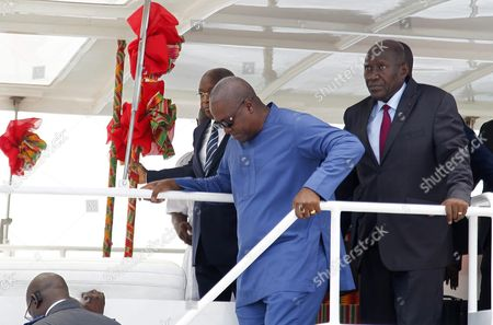 Ghana's President John Mahama Dramani (2-r) and Ivory Coast's Prime Minister Daniel Kablan Duncan (r) Walk Onboard a Ship During a Visit to the Autonomous Port of Abidjan Ivory Coast 02 June 2016 President Mahama is on a Two Day Official Visit Cote D'ivoire Abidjan