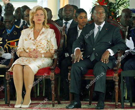 Ivory Coast President Alassane Ouattara (r) with His Wife Dominique Folloroux-ouattara (l) During Celebrations Marking the 55th Anniversary of Independence in Abidjan Ivory Coast 07 August 2016 Ivory Coast Became Independent From the French Colonial Rule on 07 August 1960 Cote D'ivoire Abidjan