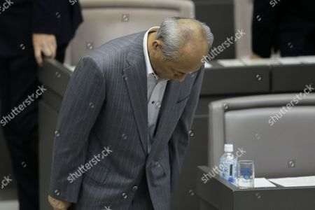 Tokyo Governor Yoichi Masuzoe Bows As He Leaves a Plenary Session of the Tokyo Metropolitan Assembly at the Prefectural Parliament Building in Tokyo Japan 15 June 2016 Earlier in the Day Masuzoe Handed in His Resignation After Receiving Criticism on His Usage of Political Funds Japan Tokyo