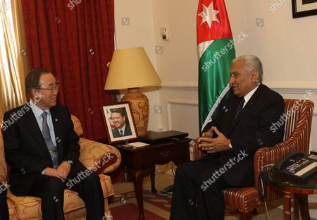 Stock Picture of Jordanian Prime Minister Abdullah Ensour (r) Meets with Un Secretary General Ban Ki-moon (l) in Amman Jordan on 27 March 2016 the Un Secretary General is on a Visit to Middle Eastern Countries That Hosts Syrian Refugees Jordan Amman