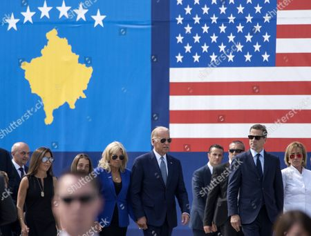 Us Vice President Joe Biden (c) and Members of His Family Walk Through the Street Named After His Late Son Joseph R 'Beau' Biden Iii Near the Military Camp Bondsteel Kosovo 17 August 2016 Us Vice President Joe Biden and His Wife Dr Jill Biden Arrived on 16 August For a Two-day Visit to Kosovo the Vice President Will Be Participating in Bilateral Meetings with President Hashim Thaci and Prime Minister Isa Mustafa Macedonia, the Former Yugoslav Republic of Ferizai