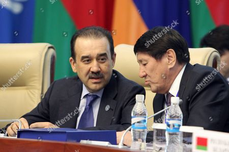 Prime Minister of Kazakhstan Karim Massimov (l) Speaks with an Unidentified Delegate at a Cis (commonwealth of Independent States) Council of Prime Ministers Meeting in Bishkek Kyrgyzstan 07 June 2016 Otherts Are not Identified Kyrgyzstan Bishkek