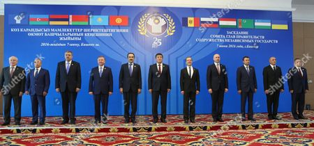 Stock Photo of (l-r) Cis Executive Secretary Sergei Lebedev Azerbaijan's First Deputy Prime Minister Yaqub Eyyubov Armenia's Deputy Prime Minister Vache Gabrielyan Belarus' Prime Minister Andrei Kobyakov Kazakhstan's Prime Minister Karim Massimov Kyrgyzstan's Prime Minister Sooronbay Jeenbekov Russia's Prime Minister Dmitry Medvedev Moldova's Prime Minister Pavel Filip Tajikistan's Prime Minister Kokhir Rasulzoda Turkmenistan's Deputy Prime Minister Satlyk Satlykov and Uzbekistan's Deputy Prime Minister Rustam Azimov Pose For a Group Photo Ahead of a Cis (commonwealth of Independent States) Council of Prime Ministers Meeting in Bishkek Kyrgyzstan 07 June 2016 Kyrgyzstan Bishkek