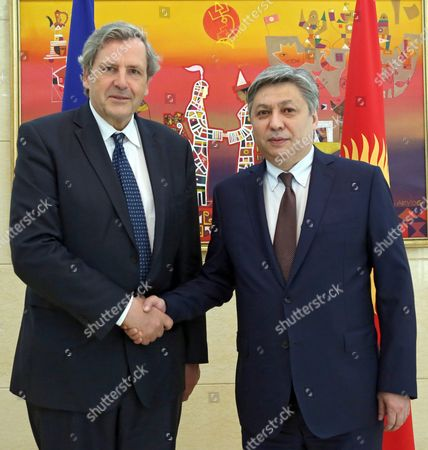 Alain Le Roy (l) Secretary General of the European External Action Service (eeas) and Kyrgyz Foreign Minister Erlan Abdyldayev (r) Shake Hands Prior Their Meeting in Bishkek Kyrgyzstan 03 June 2016 Le Roy is on an Official Visit to Bishkek Kyrgyzstan Bishkek