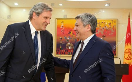 Alain Le Roy (l) Secretary General of the European External Action Service (eeas) and Kyrgyz Foreign Minister Erlan Abdyldayev (r) Meet in Bishkek Kyrgyzstan 03 June 2016 Le Roy is on an Official Visit to Bishkek Kyrgyzstan Bishkek
