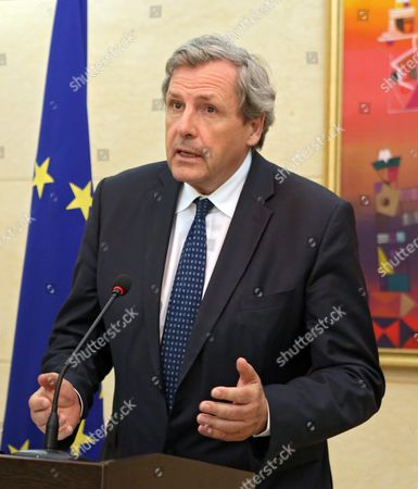 Stock Image of Alain Le Roy Secretary General of the European External Action Service (eeas) and Kyrgyz Foreign Minister Erlan Abdyldayev ((not Pictured) Speak at a Press Conference Following in Bishkek Kyrgyzstan 03 June 2016 Le Roy is on an Official Visit to Bishkek Kyrgyzstan Bishkek