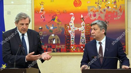 Alain Le Roy (l) Secretary General of the European External Action Service (eeas) and Kyrgyz Foreign Minister Erlan Abdyldayev (r) Speak at a Press Conference Following in Bishkek Kyrgyzstan 03 June 2016 Le Roy is on an Official Visit to Bishkek Kyrgyzstan Bishkek