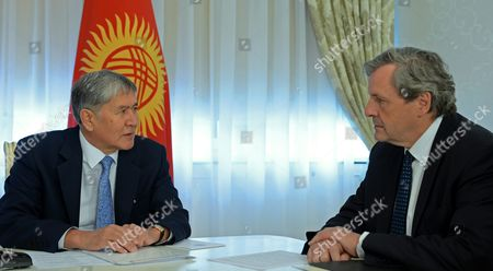 Alain Le Roy Secretary General of the European External Action Service (eeas) (r) and Kyrgyzstan's President Almazbek Atambayev (l) Together For Their Meeting in Bishkek Kyrgyzstan 03 June 2016 Alain Le Roy Secretary General of the European External Action Service (eeas) is on an Official Visit to Bishkek Kyrgyzstan Bishkek