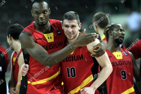 Kevin Tumba (l) Quentin Serron (c) and Jonathan Tabu (r) of Belgium Their Victory During the Eurobasket 2015 Match Between Ukraine and Belgium in Riga Latvia 10 September 2015 Latvia Riga
