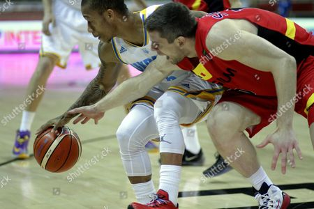 Stock Picture of Jerome Randle (l) of Ukraine and Quentin Serron of Belgium During the Eurobasket 2015 Match Between Ukraine and Belgium in Riga Latvia 10 September 2015 Latvia Riga