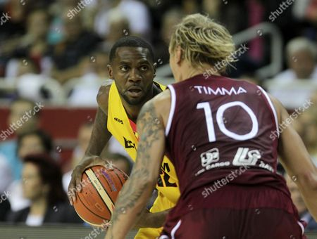 Jonathan Tabu (l) of Belgium and Janis Timma of Latvia in Action During the Eurobasket 2015 Group D Match Between Belgium and Latvia in Riga Latvia 05 September 2015 Latvia Riga