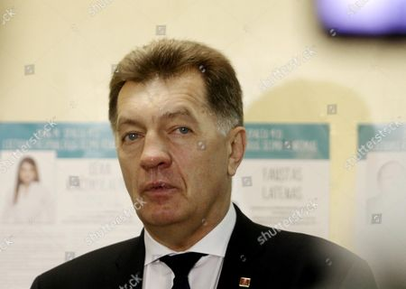 Leader of Lithuanian Social Democratic Party Lithuanian Prime Minister Algirdas Butkevicius at a Polling Station During Parliamentary Election in Vilnius Lithuania 9 October 2016 Lithuania Vilnius