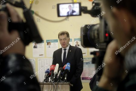 Stock Photo of Leader of Lithuanian Social Democratic Party Lithuanian Prime Minister Algirdas Butkevicius at a Polling Station During Parliamentary Election in Vilnius Lithuania 9 October 2016 Lithuania Vilnius