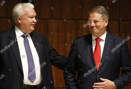Stock Image of Latvian Minister of Agriculture Janis Duklavs (l) and Austrian Minister For Agriculture Forestry Environment and Water Management Andrae Rupprechter (r) at the Start of the Agriculture and Fisheries Council in Luxembourg 10 October 2016 the Commission Will Present Its Omnibus Proposal and Notably Its Impact on the Main Cap Regulations to the Council Which is Also Due to Agree on Next Year's Fishing Opportunities in the Baltic Sea Luxembourg Luxembourg